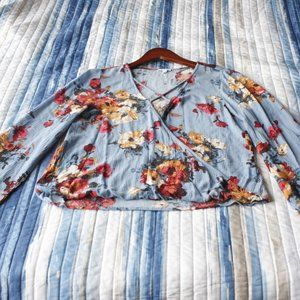 Floral Blouse with Front Cross Accent